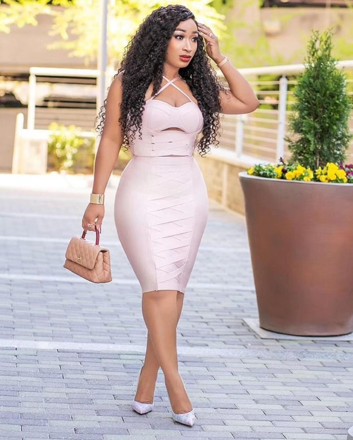 High Quality Sexy Women Pink Hollow Out Bodycon Rayon Bandage Club Party Bodycon Dress