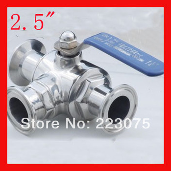 "New arrival 2.5"" SS304 Stainless steel T/L port three way clamp Manual quick install  ball valve Tube Fitting Homebrewing & Beer"