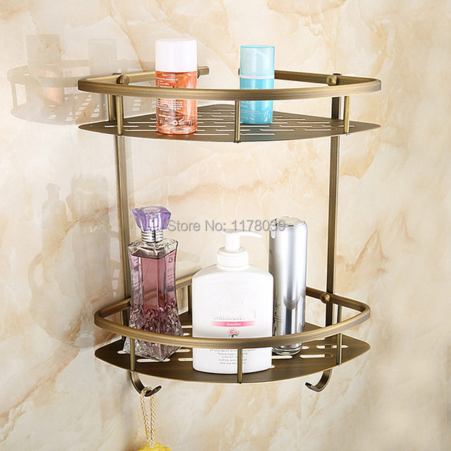 European antique brass corner bathroom shelving,retro Bathroom dual ...