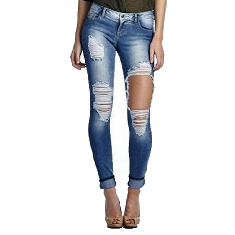 Fetoo Distressed Women Skinny Pencil Jeans Denim Elastic Pants Low Waist Ripped Jeans Women Slim Big Hole Trousers Long Pants