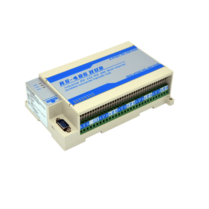 8 Channel Industrial RS485 Signal Splitter 1 Port Rs232 Serial Port Go To 8 Port RS485 Hub Photoelectric Isolation