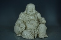 Antique Handmade Porcelain Statue DeHua White Laughing Buddha Sculpture 20 Hand Crafts Best Collection Adornment Free