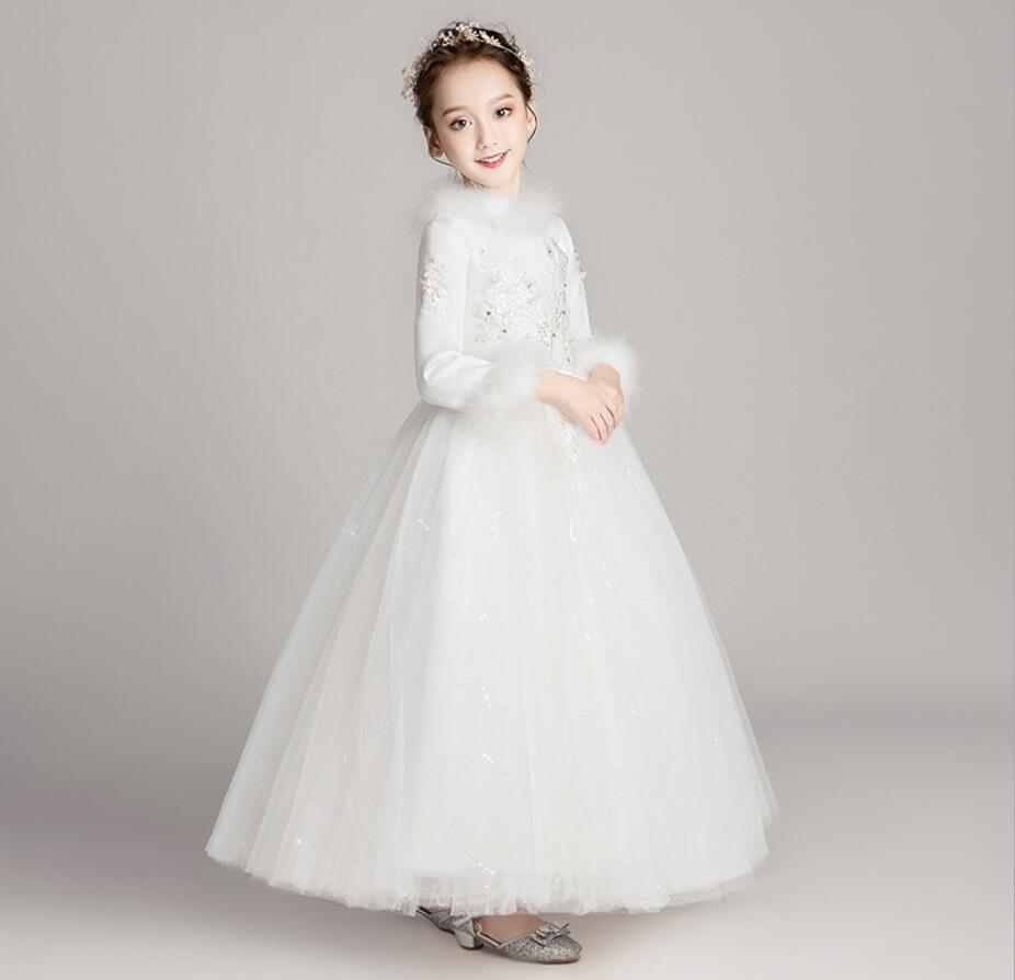 Rose Tulle fleur fille robe enfants robe de mariée cheville longueur Appliques perle enfants fête robe de bal première Communion robes HW2389