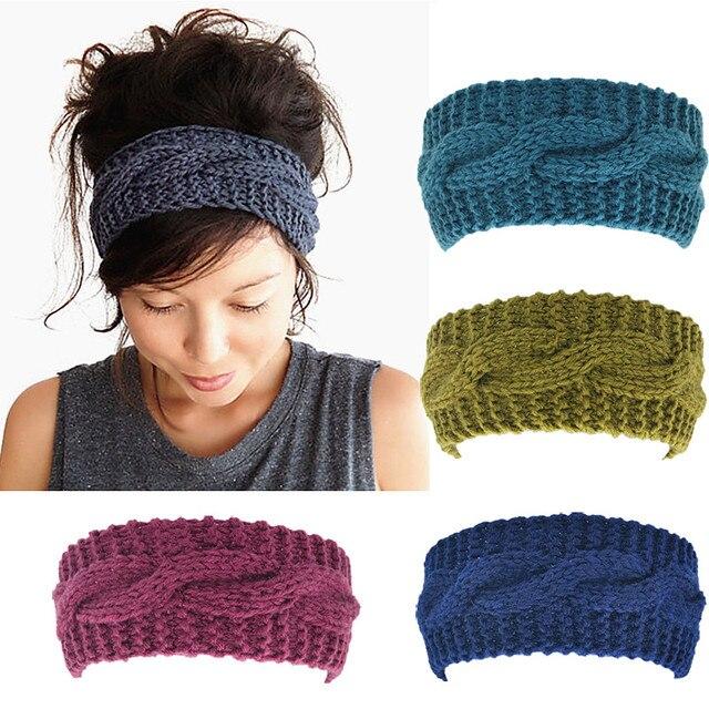 ef6743c70be Women s Wool Crochet Turban Headband Winter Warm Elastic Hairband Head Wrap  Bandage Headbands Headwear Girls Hair Accessories