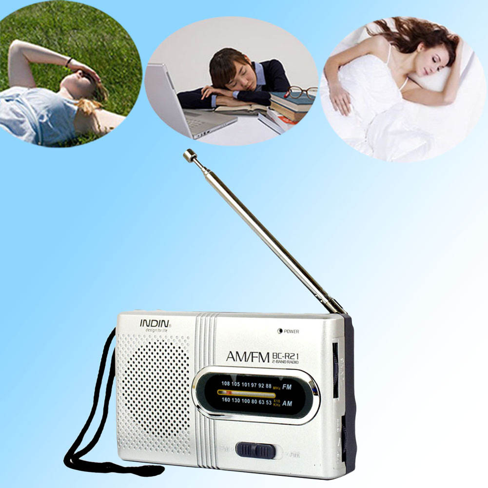 Mini Portable AM/FM Radio Telescopic Antenna Radio Pocket World Receiver Speaker -Drop