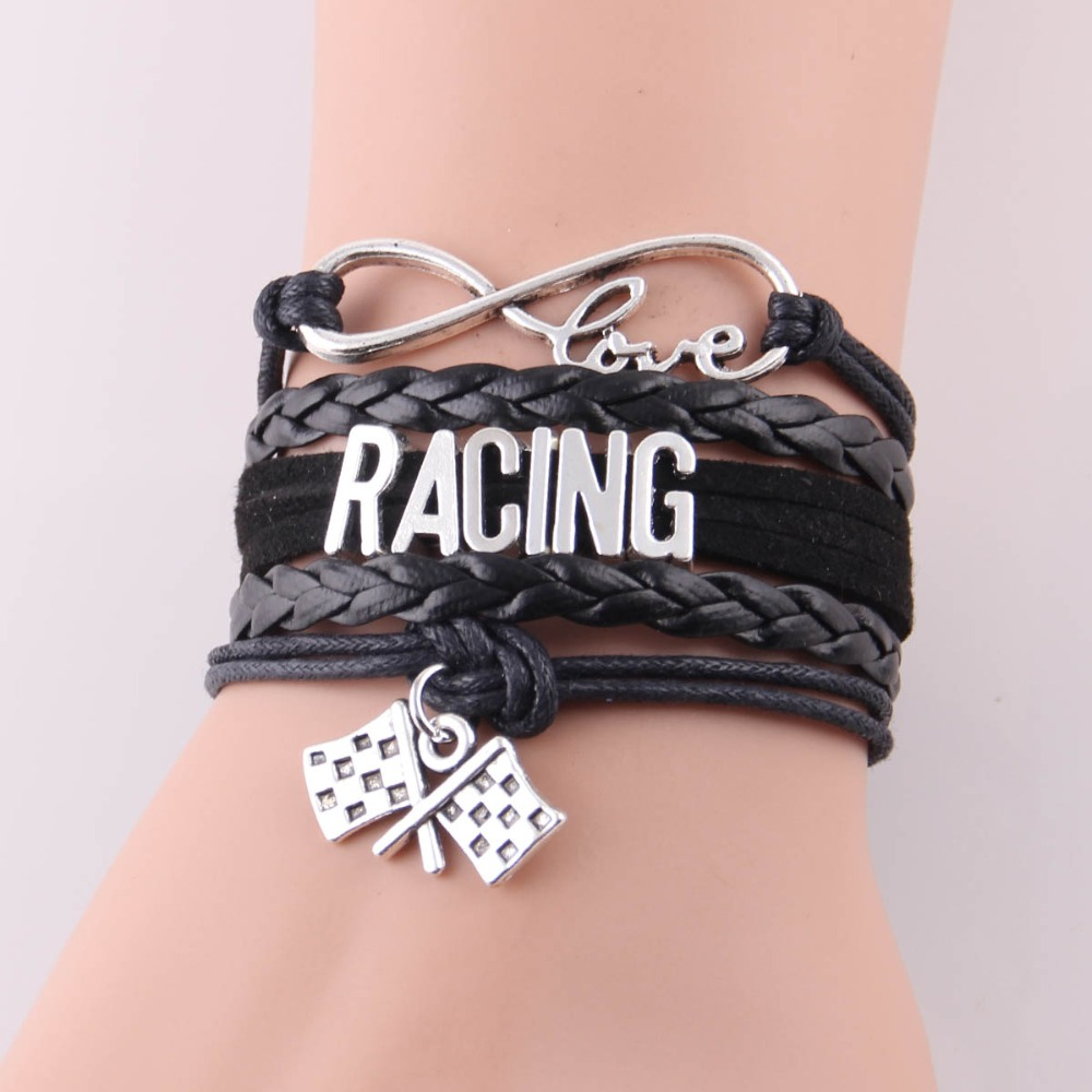 black vintage en style bracelet racing noir newman paul bands watches bracelets