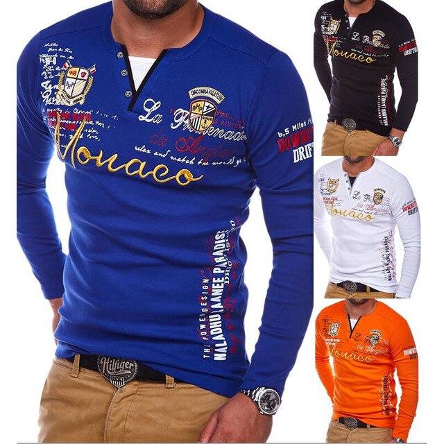4b762091f6ff Zogaa 2018 Men Polo Shirt Long Sleeve Cotton Hand Printing Casual Tees  Quick Dry Quailty Male