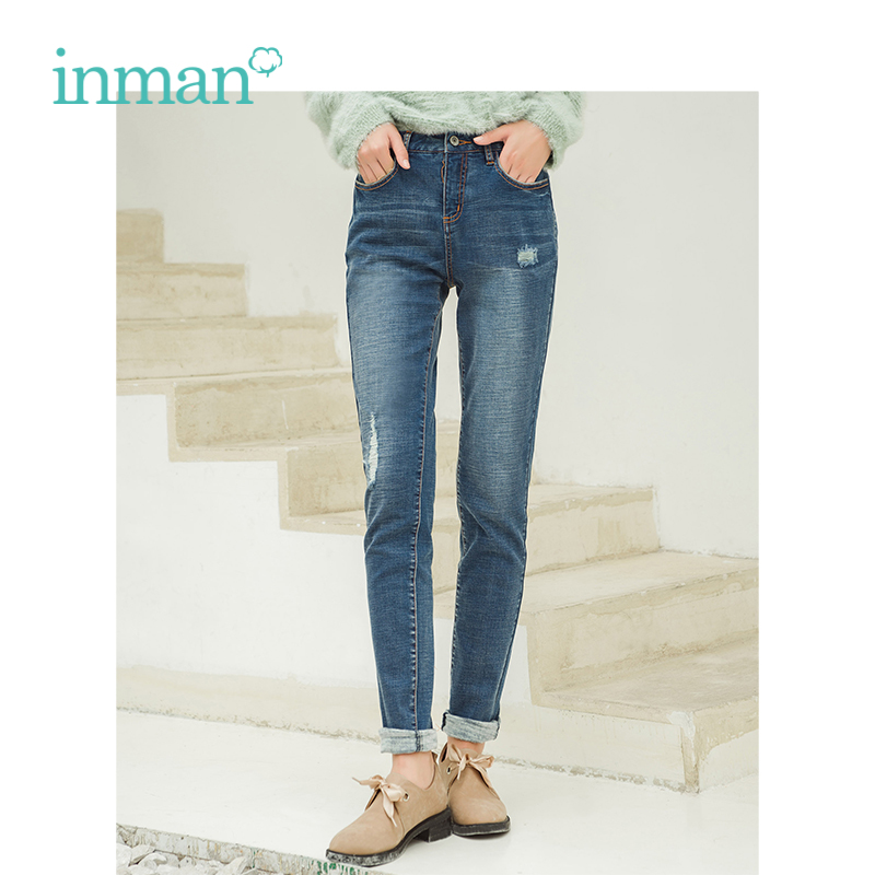 INMAN New Arrival Female Mid Waist Casual Wild Models Whitening Hole Jeans