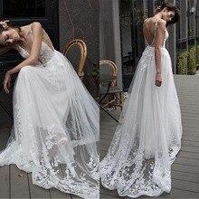 Fabuloso tule decote em v profundo decote vestido de noiva a linha com apliques de renda e beadings vestidos de noiva longos 2019