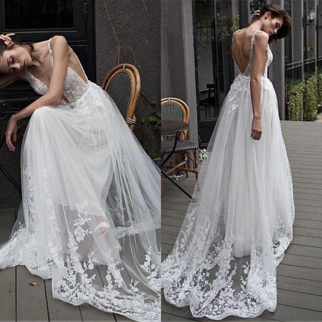 Fantastyczny tiul głęboki dekolt w szpic dekolt linia suknia ślubna z koronkowymi aplikacjami i paciorkami długa suknia ślubna suknie 2019
