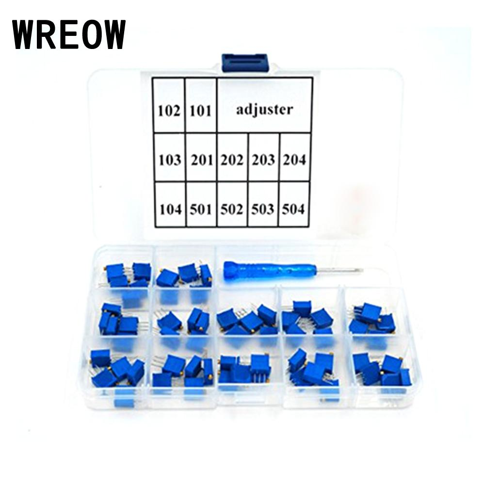 60PCS/set 3296W Adjustable Horizontal Trimpot Trim Pot Resistor Potentiometer Assortment Kit 15 Values Variable Resistor