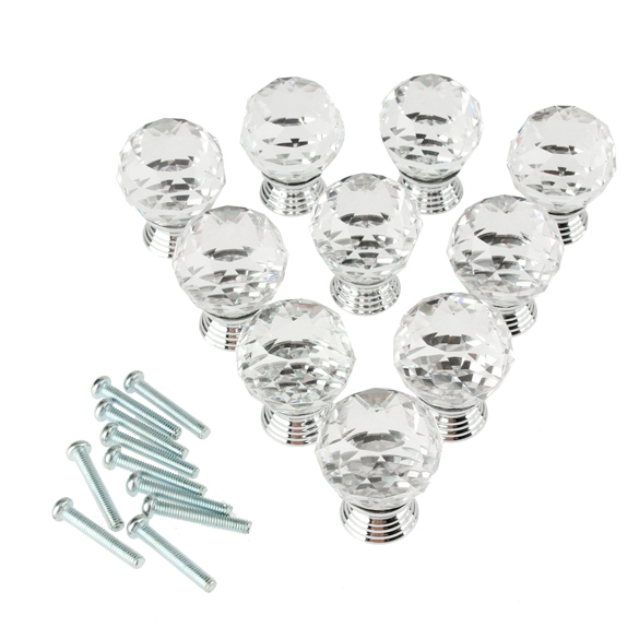 10x Crystal Glass Clear Cabinet Knob Drawer Pull Handle for Door Wardrobe 88 --M25 clear crystal glass cabinet knob door knob crystal knob