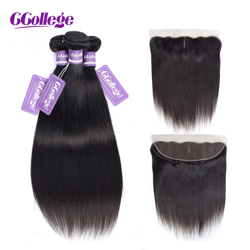 CCollege Human Hair Bundles With Closure Brazilian Straight Hair Bundles With Frontal 13 4 Natural Color