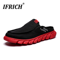 Summer Men Half slippers Red Bottom Mens Casual Shoes Light Weight Man Flats Casual Shoes Popular Slip On Sneakers For Men