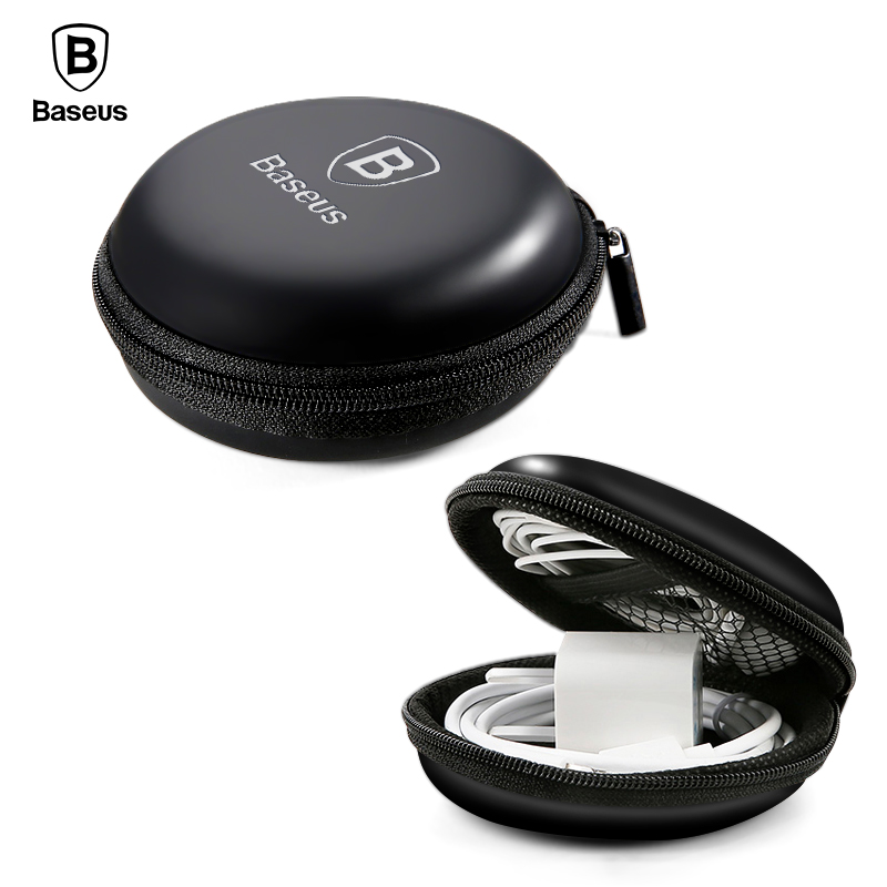 Baseus Headphone Earphone Case Srorage Hard Bag Mini Zippered Round Box For SD TF Card Cable U Disk Flash Drive Portable Case ouhaobin blue portable headphone bag long round hard storage case bag for earphones headphones sd tf cards optional sep14