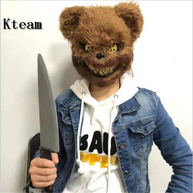 3282a0940acdd Hot Funny Party Cosplay Scary Killer Teddy Bear Mask Adult Evil Psycho Halloween  Costume Fancy Dress Plastic Bear Face Mask Toys
