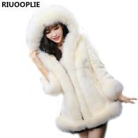 Riuooplie XS-3xl mujeres invierno con capucha Pieles de animales Abrigos negro artificial Faux Fox Pieles de animales con capucha
