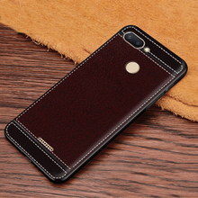Case on Redmi 6 Cover Luxury PU Leather Texture Soft TPU Sil