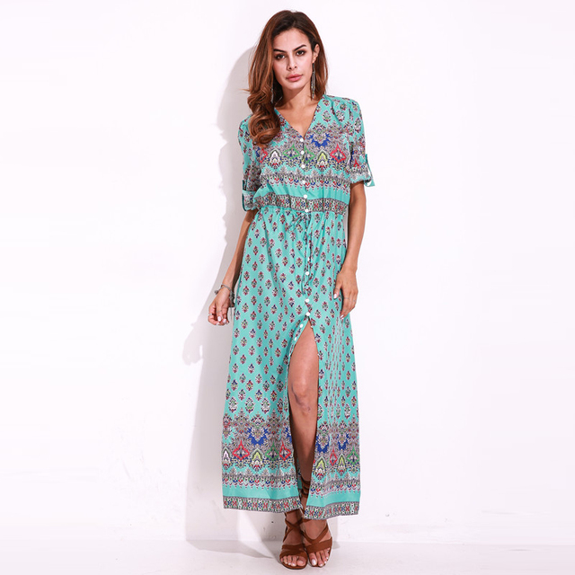 9548a37b992 Summer Boho Floral Print Long Maxi Dresses Vintage Women Half Short Sleeve  V Neck Split Sexy Party Dress Beach Sundress