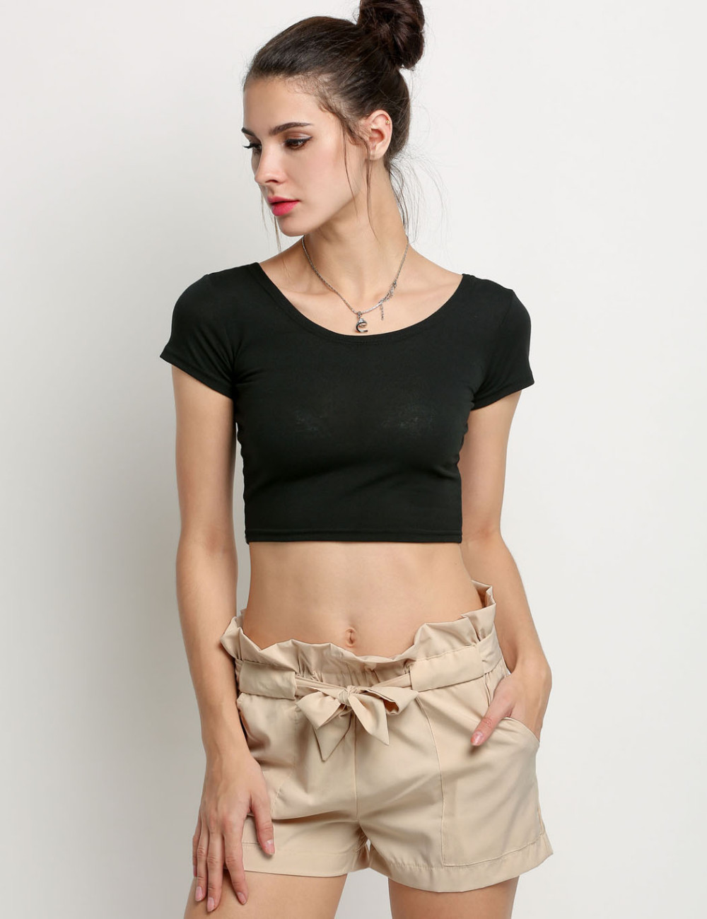 HTB1ui7gNFXXXXbaapXXq6xXFXXXj - High Waist Shorts Loose Shorts With Belt Woman PTC 59