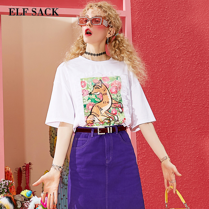 ELF SACK Cotton O Neck Woman Tops Animal Print Lace Patchwork Women T shirts Sweet Girl's Clothing Stylish Knitted Female Tees-in T-Shirts from Women's Clothing    2
