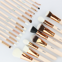 BEILI Beige professional makeup brushes set pink 25 pieces rose pipe natural hair make up brushes