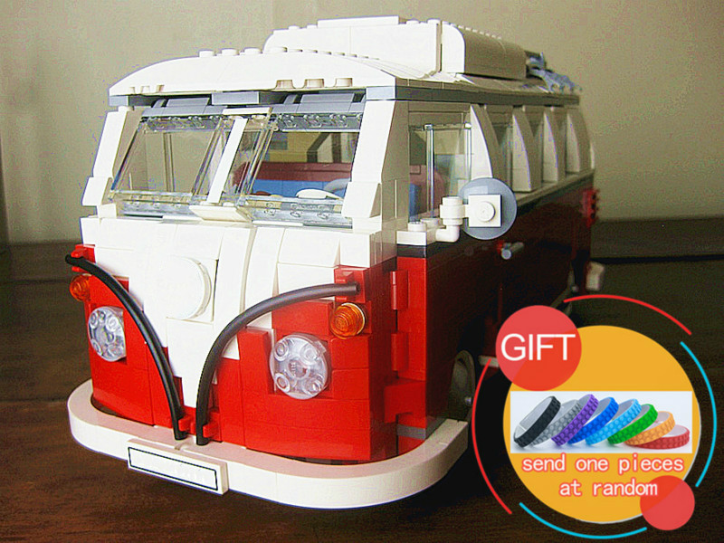 21001 1354Pcs Technical Series Volkswagen T1 Camper Van Set Model Building blocks Compatible with 10220 Toys for children lepin telecool led light building blocks toy only light set for creator series the t1 camper van model lepin 21001 and brand 10220