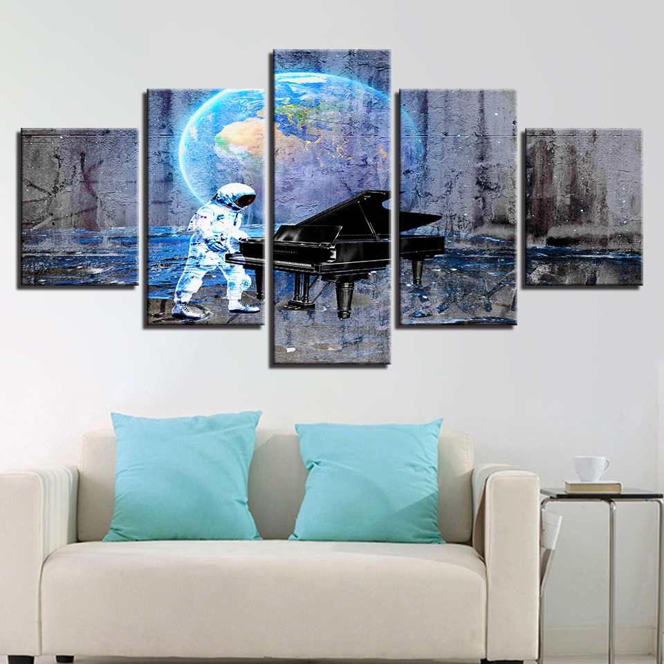 Art Painting Abstract Wall Modular Picture 5 Panel Astronauts Earth Piano For Living Room Home Decoration Canvas Poster Prints in Painting Calligraphy from Home Garden