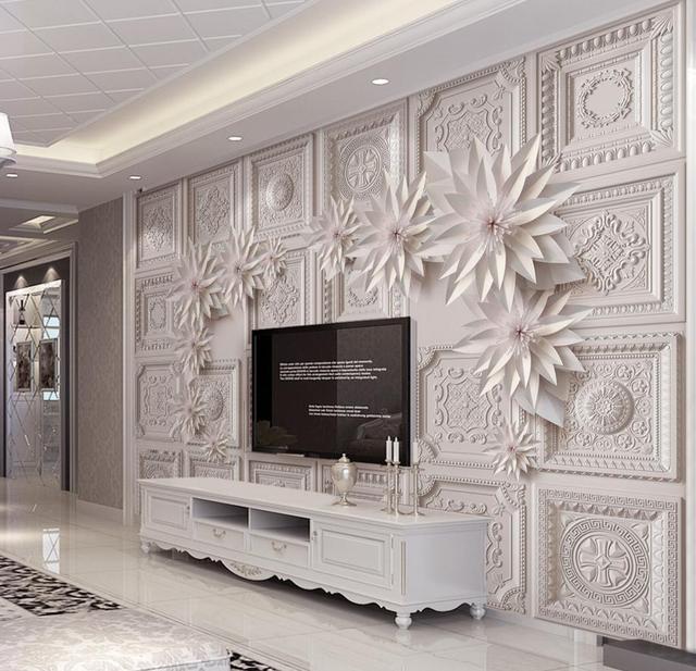 3d Wallpaper Walls For Living Room Embossed Flower European