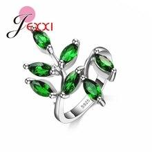 Красивый Зеленый Leavies С AAA + Austrain Rhinestone Женщины/Девушки Стерлингового Серебра 925 Кольца Для Свадьбы Аксессуары