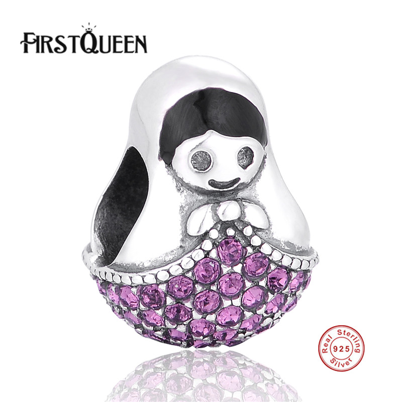 FirstQueen Silver 925 Russia Matryoshka Charms Beads Fits Most Popular Bracelets Snake Chain For Jewelry Making