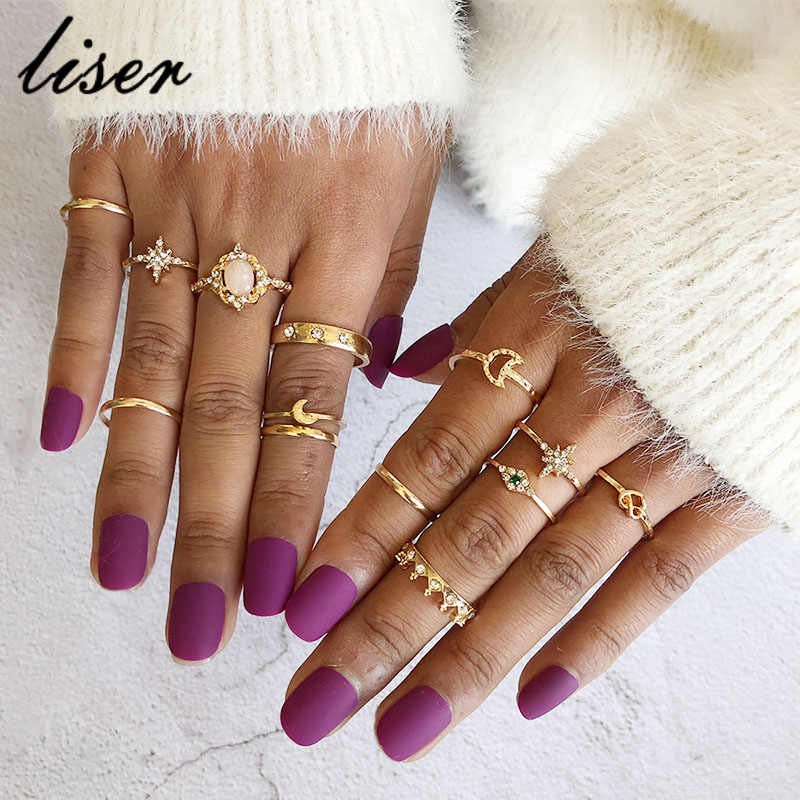 13Pcs/Set Vintage Star Opal Crystal Finger Ring Set Bohemian Gold Moon Crown Knuckle Midi Rings Women Jewelry Accessories