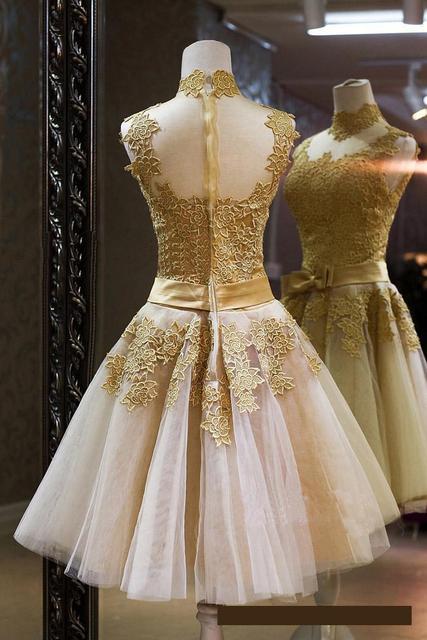 Fashion Short Lace Gold Evening Dresses Bride Princess Banquet Vintga High Neck Prom Dress Plus Size Custom Robe De Soiree