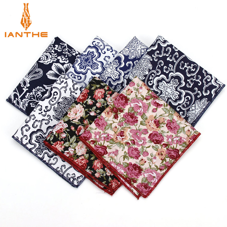 Vintage New Men's Fashion Cotton Flower Print Pocket Squares For Men Handkerchief Wedding Classic Hanky Suits Pocket Hankies