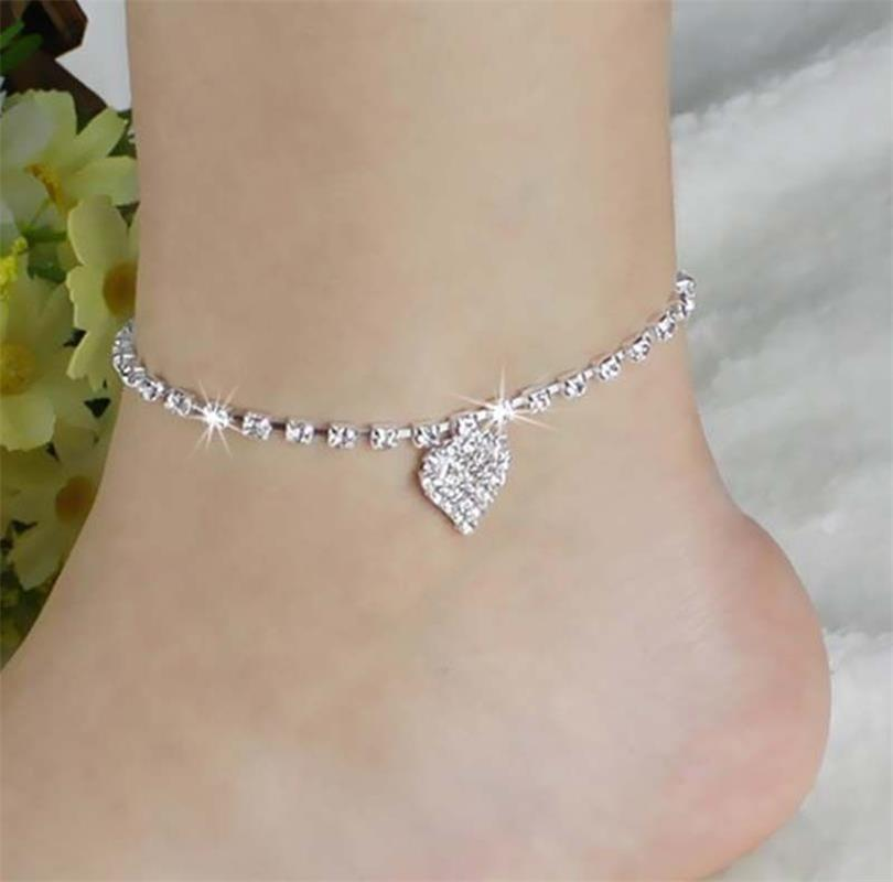 Heart Anklet Bracelet Ankle On The Leg For Women Silver Barefoot Bohemian Crystal Love Sandals Ankle Strap Jewelery wholesale