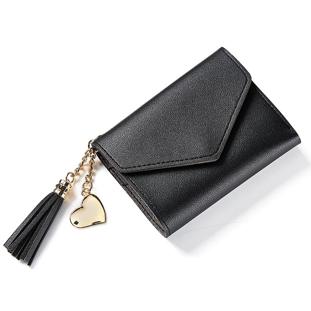 4 цвета PU складной кошелек короткие модные сумки банковская карта кошелек для покупок монета - Цвет: black