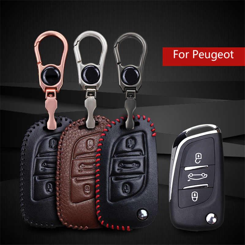 Coche de cuero genuino remoto clave para Peugeot 206 de 308 de 307 clave 407, 207, 508, 208, 2008, 406 titular de llavero con emblema