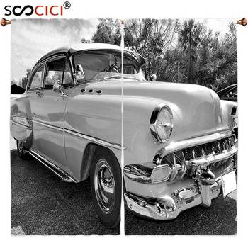 Window Curtains Treatments 2 Panels,Vintage 50s 60s Retro Classic Pin Up Style Cars in Hollywood Movies Image Artwork Black