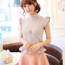 Princess sweet lolita Tees uncle flower cross striped T-shirt fungus uncle fine lace butterfly knot bottoming shirt UF109