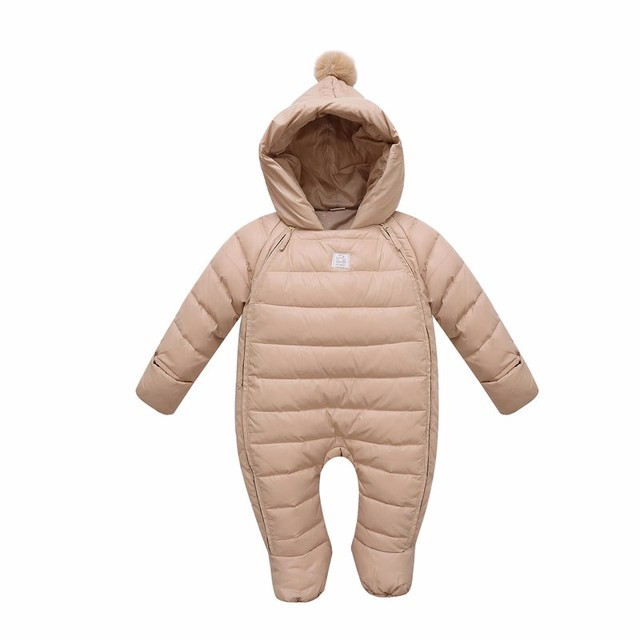 2016 fashion winter baby jumpsuit down jacket/parkas White duck down hooded girl Romper Newborn Snowsuit Infant Baby Boy Clothes