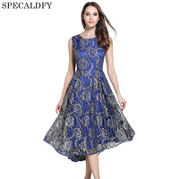 European Fashion Summer Blue Lace Dress Women Vintage Elegant A Line Midi Party Dresses Sleeveless Vestidos