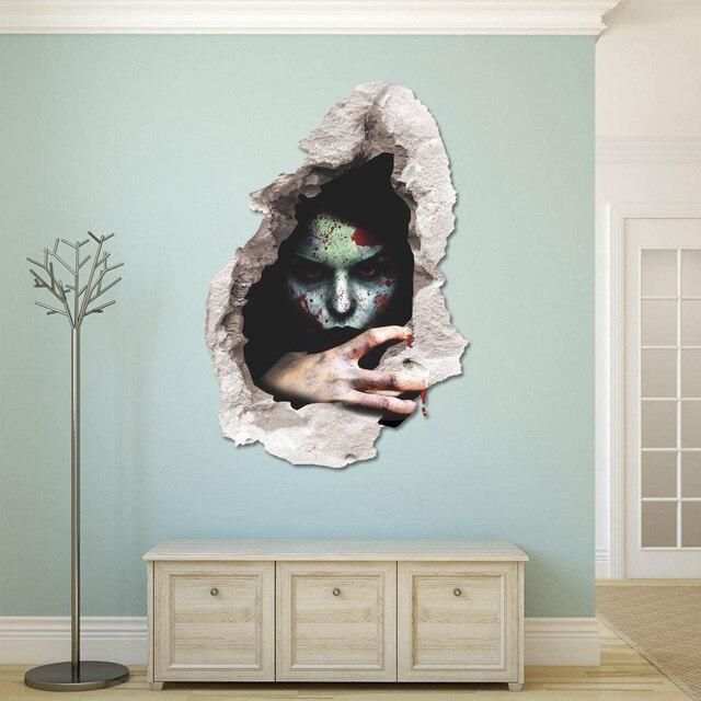 creepy halloween sticker horror ghost printing decoration 3d wall