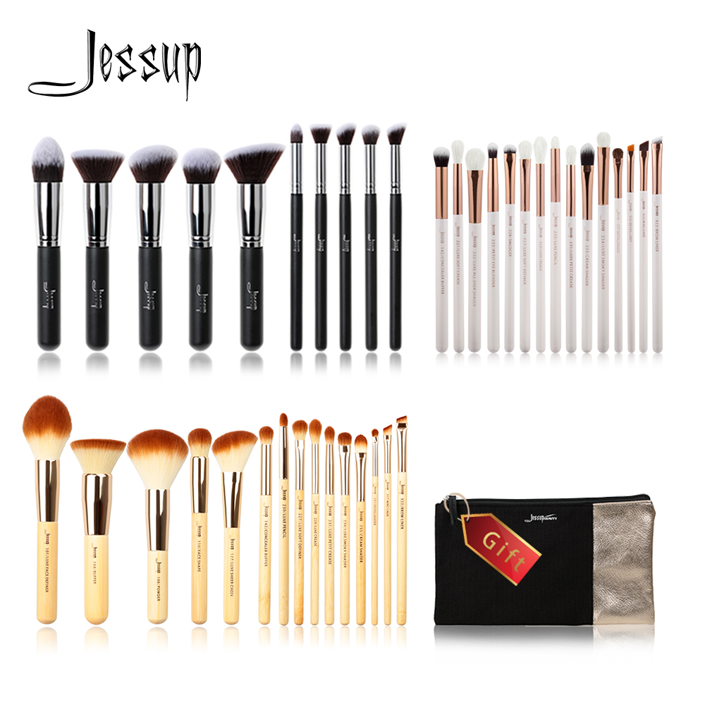 Jessup Buy 3 get 1 free gift professional Makeup Brushes set Make up Brush Tools kit Eye Liner Shader Foundation blush Liquid free shipping 3 pp eyeliner liquid empty pipe pointed thin liquid eyeliner colour makeup tools lfrosted purple