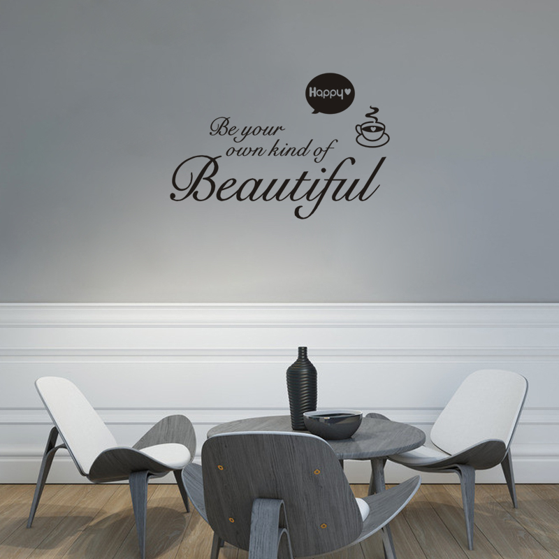 Be Your Own Kind Of Beautiful Quotes Wall Decals Girls Room Wall Art Decor Diy Vinyl Stickers Home Decoration