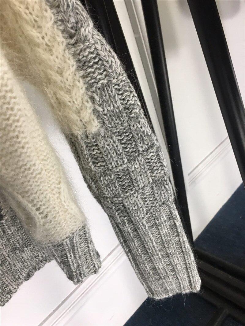 Patchwork Haute Qualité Nouveau Pull 2018 Fomolayime Hiver Chandail Femmes Chandails Mode O Cou pMVSUz