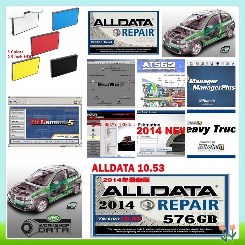 2019 Software de reparação Automóvel ALLDATA disco Rígido Todos Os dados v10.53 + por encomenda de mitchell 2015 + Vívida oficina + Elsawin + atsg 26in1TB usb3 hdd