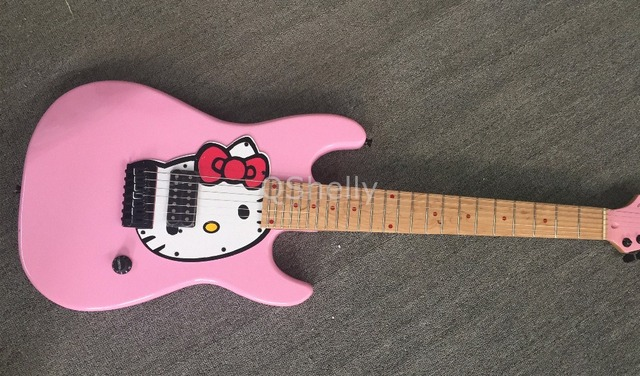 top quality qshelly custom 7 strings pink electric guitar hello kitty guitars musical. Black Bedroom Furniture Sets. Home Design Ideas