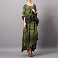 Johnature Women Silk Dress Fold High Quality 2019 Spring New Long Sleeve Print Floral Irregular Dress Women Cloths Casual Dress