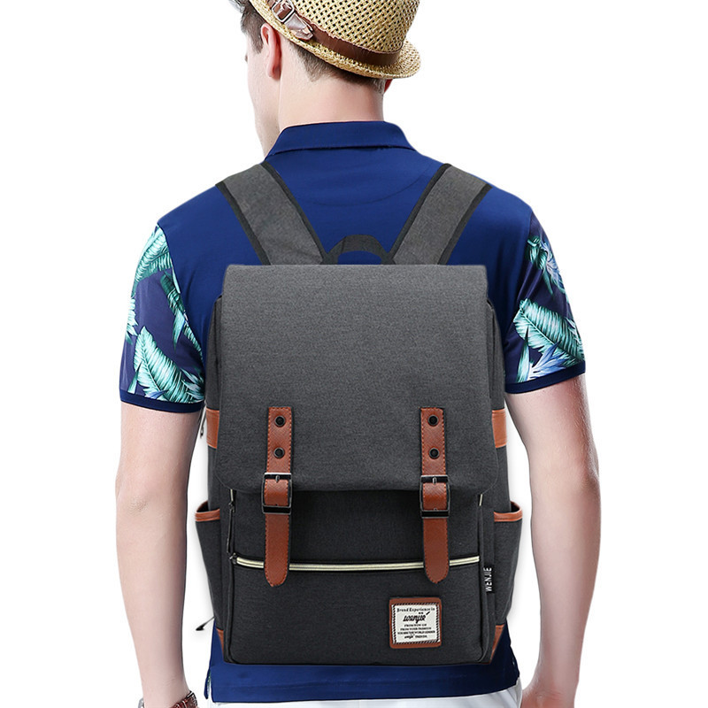 Cycling Bag Bicycle Pocket Vintage Canvas Backpack Lightweight Canvas Laptop Backpack for Outdoor Sports Riding Campus Pockets outdoor sports pockets sv012199