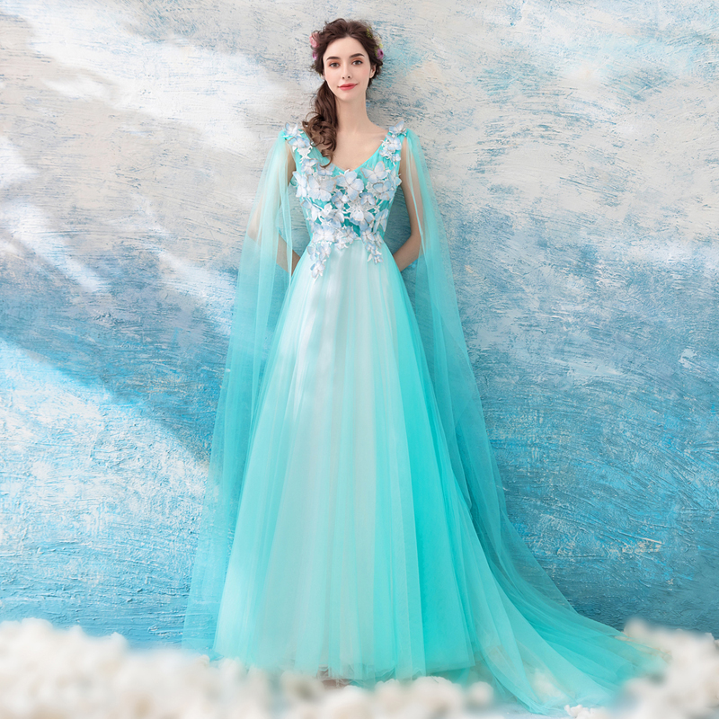 100%real Studio Light Lake Blue Butterfly Fancy Fairy Long Gown Medieval Dress Court Renaissance Gown Victorian Belle Gown